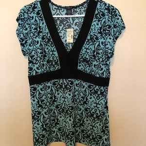 Aqua and black Maurices  blouse